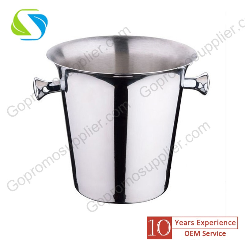 FDA advertising promotion custom logo made stainless steel ice bucket/ champagne wine beer ice bucket 029