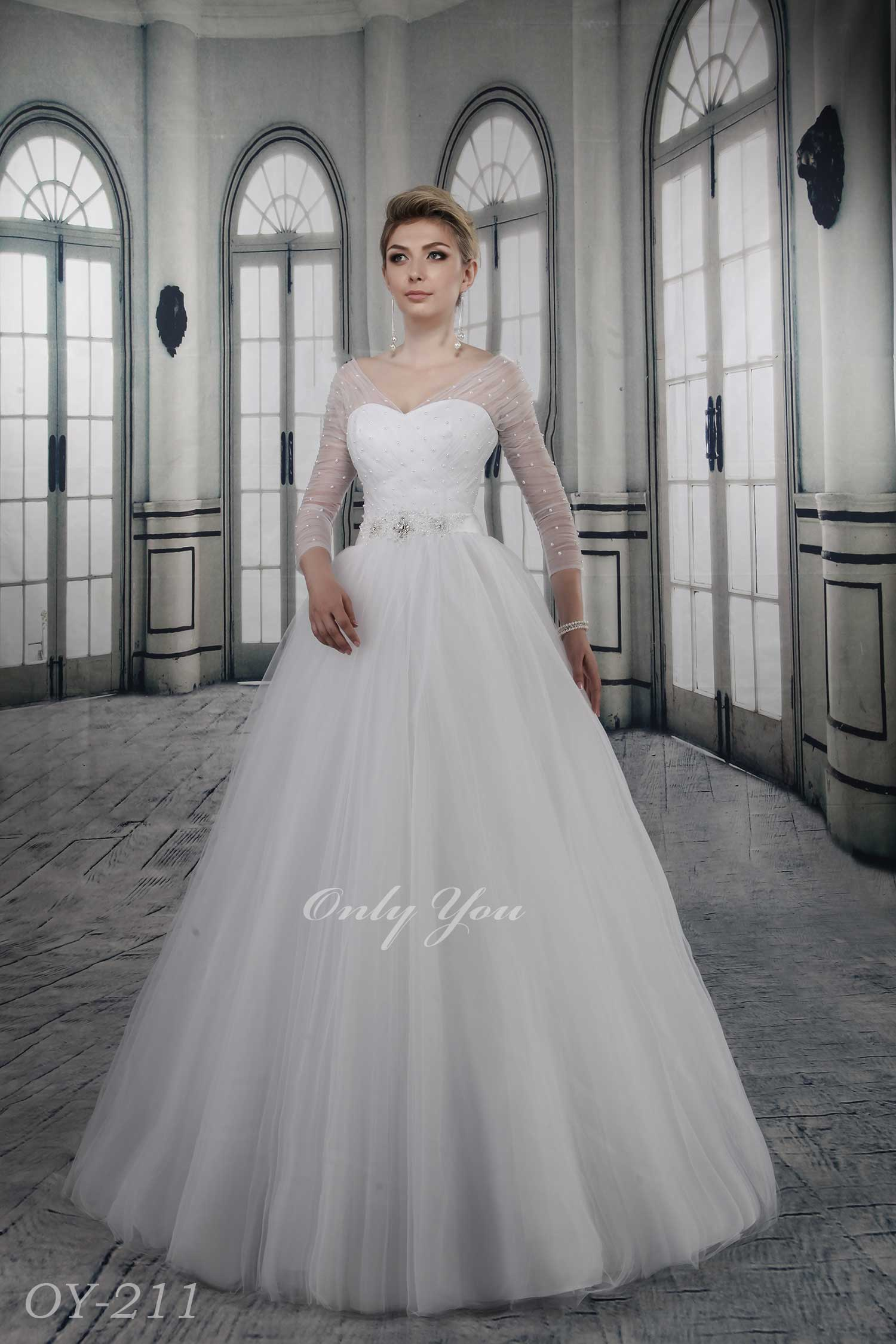 2015 New collection wedding dress 3/4 length Sleeves Soft Tulle Pearls