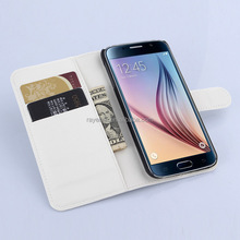 White premium PU leather case with wallet & card holder unique for Samsung Galaxy S6