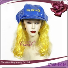 ladies funny fashion hats with fake hair attached