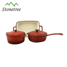 3 piece Premium red porcelain enamel cast iron cookware set