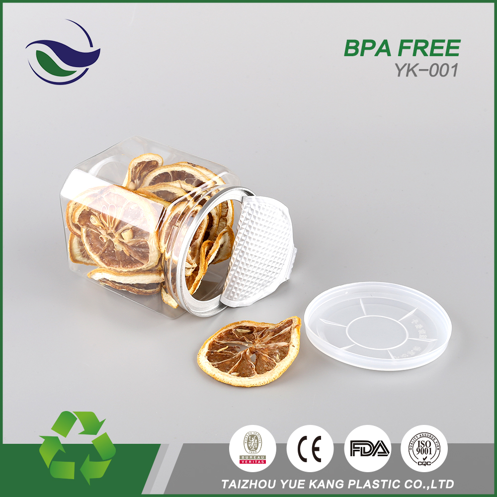 China natural fish preservation can empty pet plastic food biscuits 300ml square canning jars