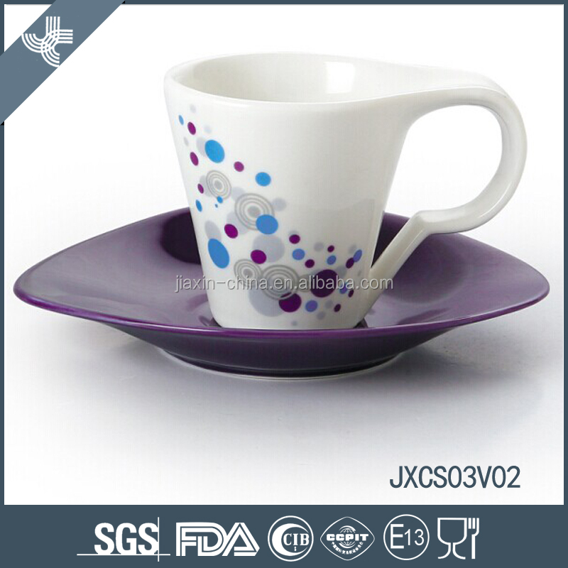 New design purple and white childlike ceramics oval tea cup and saucer