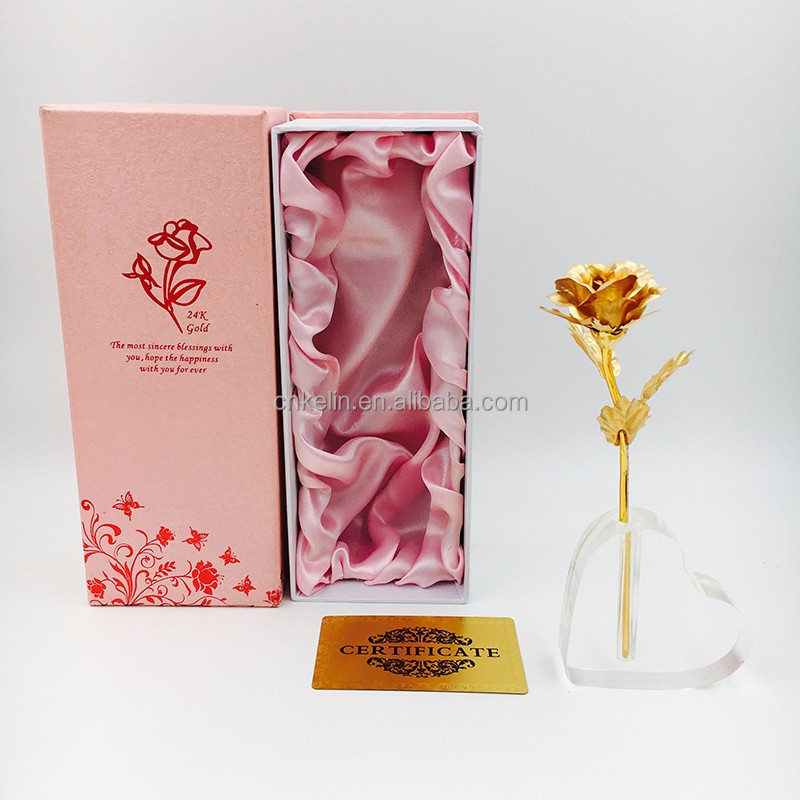 16cm The Creative <strong>Wedding</strong> Decorative Rose Dipped in 24K Gold with nice gift box