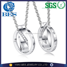 New Design Never Change Love for Couples Valentine's Day Crossed Pendant Necklace Set Wholesale