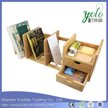 Bamboo Desk Organizer with 2 Drawers for Office/Home, Expandable and Adjustable Bookshelf
