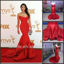 Custom Made Sweetheart Satin Pleated Mermaid Real Photo For Movie Star Evening Dress