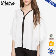 Wholesale Plus Size Kimono Sleeve Contrast Blouse