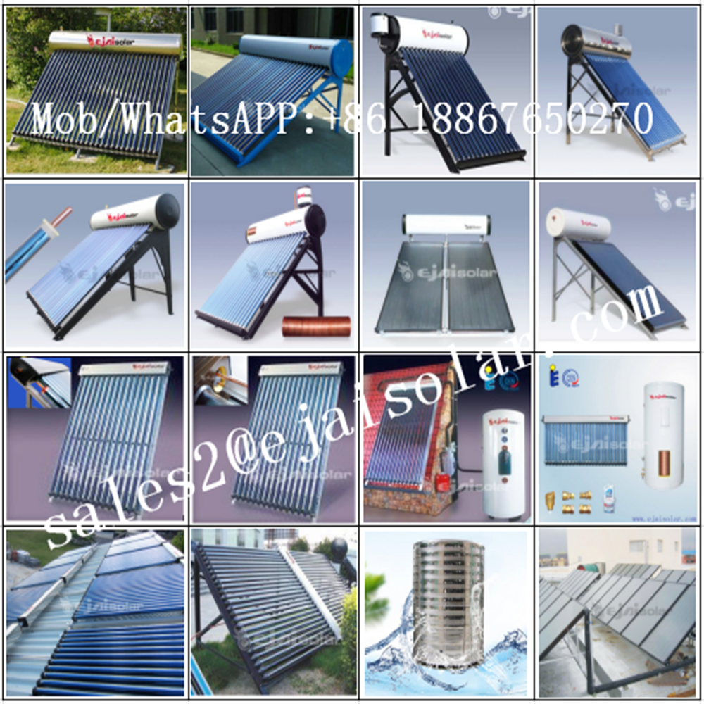 Ejai rooftop stainless steel solar water heater, pressurized heat pipe, vacuum tube solar collector, 100L 200L 300L 1000L