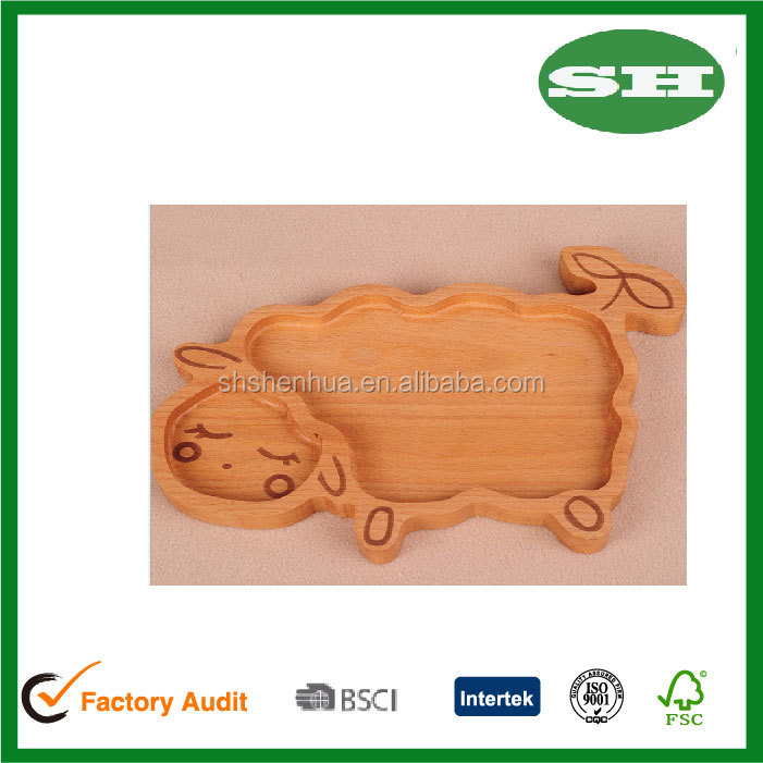 Wood animal Sheep shape wooden plate for kids