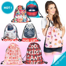 Wholesale cute polyester drawstring bags for shopping