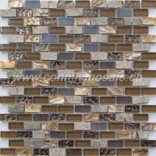 Light Brown Shell, Stone and Glass Blending Mosaic Tile