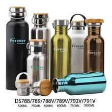 Eco design custom logo bamboo lid stainless steel negative ion water bottle