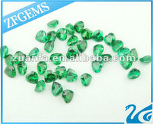 lab created heart shaped emerald cz loose cz stones