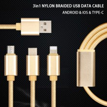 High quality Nylon braided wire 3 in 1 cable and charging cable usb for Micro Ip7 Type-C usb