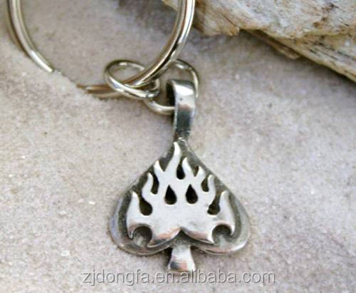 FLAMING SPADE key chain POKER GAMBLE Pewter KEYCHAIN novelty Key Ring