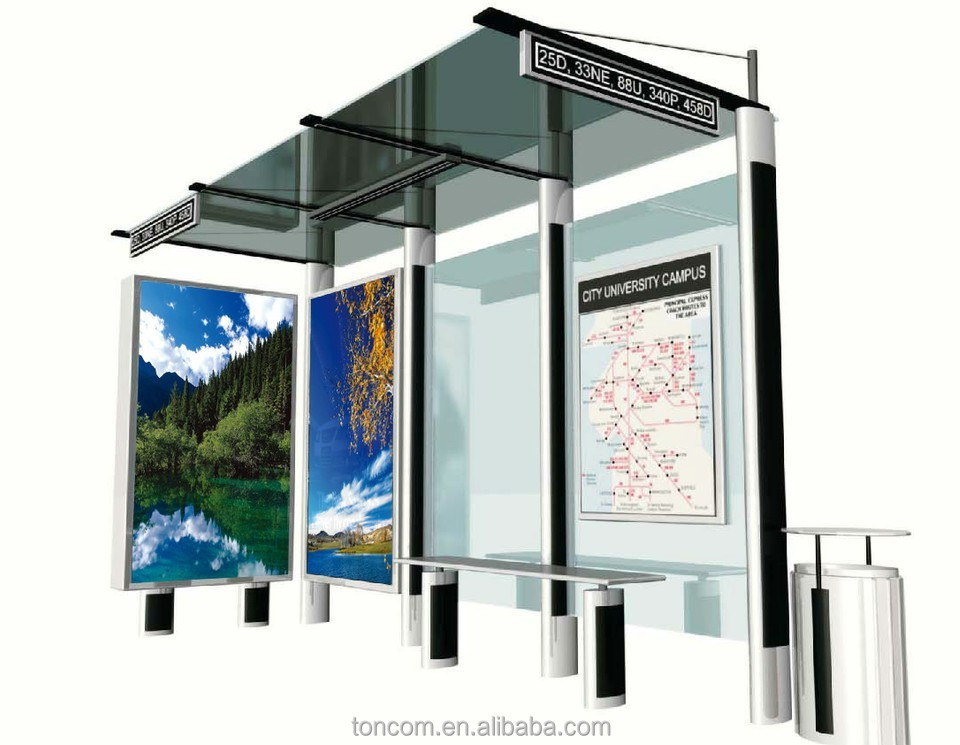THC-33 outdoor steel frame bus shelter