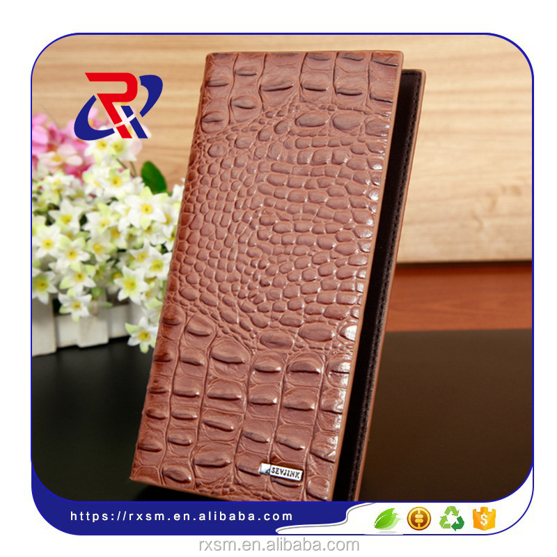 Multifunctional Mens <strong>wallet</strong> in croc embossed pu leather large middle small bill hold