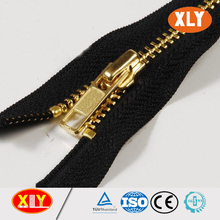 black polyester tape highly polished gold metal zipper for hangbag