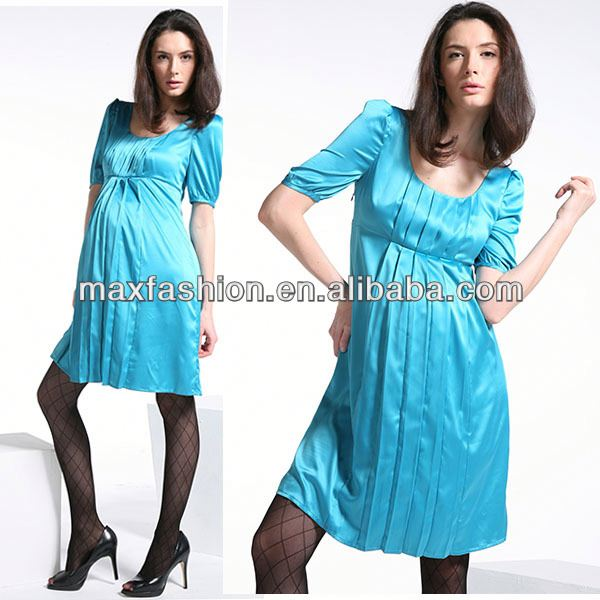 Wholesale plus size maternity chiffon maxi dress wear with elbow sleeve, scoop neckline, front ruched, side zip from China