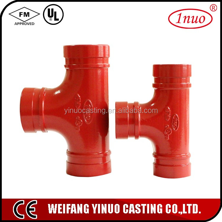 FM/UL certificated pipe fittings connector thread reducing tee