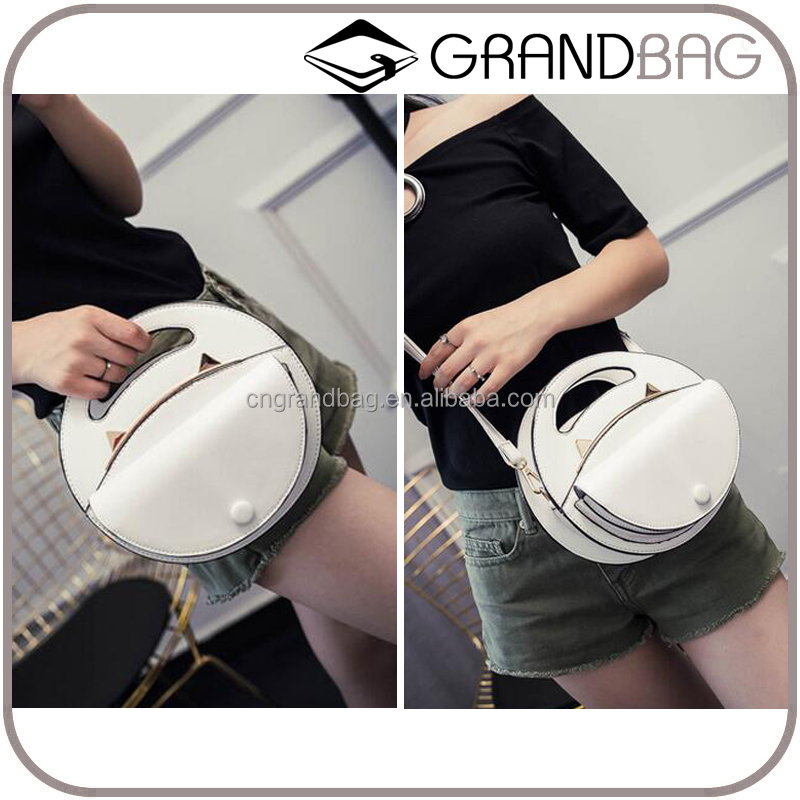 Guangzhou Stylish Women PU Leather Round Handbag Shoulder Bags Minin Cross Body Bag Leather Cat Bag for Ladies and Students