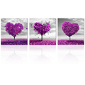 "Love Shape Tree Photo Prints Ready to Hang Canvas Framed Prints Romantic Room Decoration(12""x12""x3Pcs)"