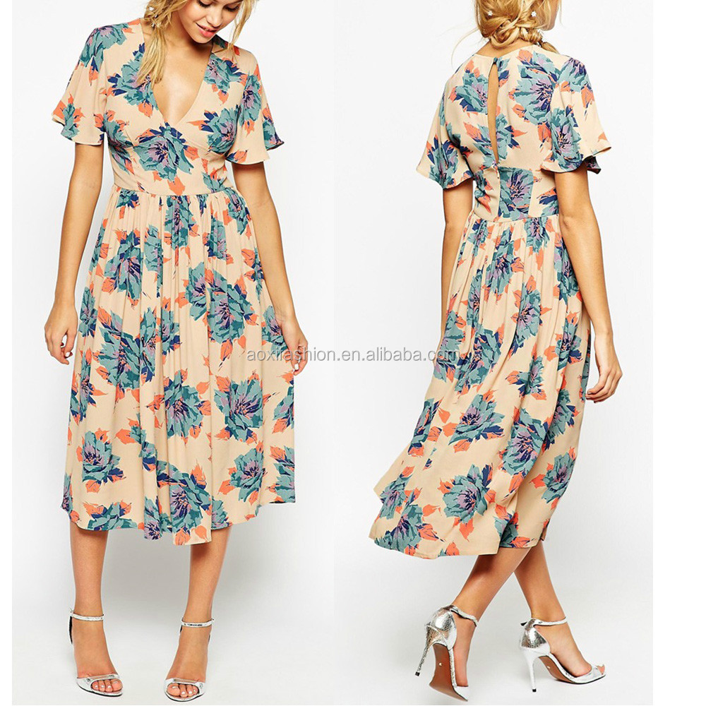 2015 Ladies Elegant western Wear To Work Tunic Party floral plus size evening dress