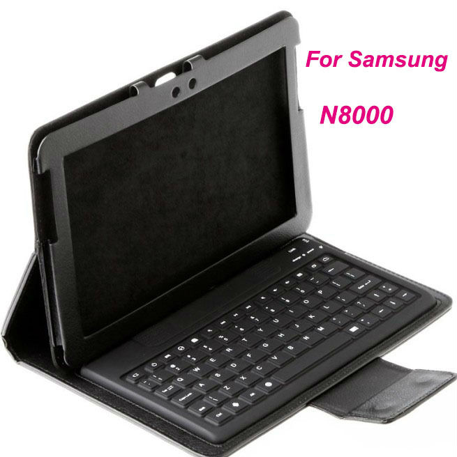 "Wholesale 2 in1 Wireless Bluetooth Keyboard & Leather Case Stand for Samsung Galaxy 10.1"" N8000"