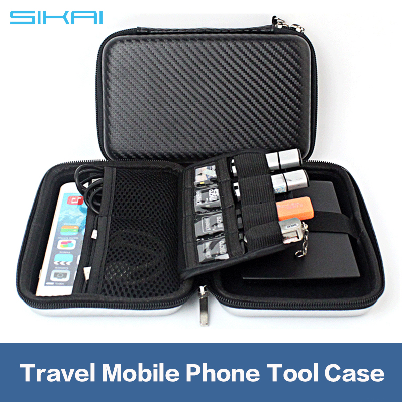 High Quality High Capacity Travel Case For Mobile Phone Asseccories Soft Lining USB SD Card Data Cable Case Bag Storage Case