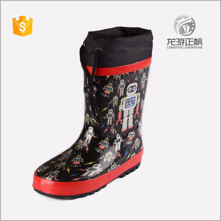 Full print soft children eva rubber rain boots with ties