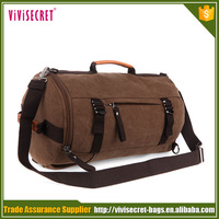 Fashionable vintage canvas leather handle backpack duffle bags
