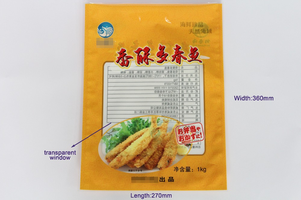 Three Sides Heat Seal Bags Plasitc Snack Foods Packaging With Window Made In China