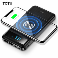 TOTU 10000mAh Dual USB LED Display QI Wireless Charger External Battery Powerbank Power Bank