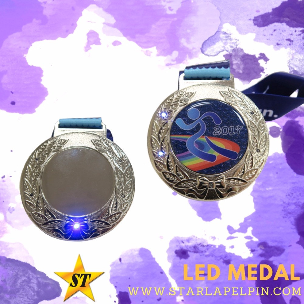 Gold Silver Bronze LED Light Up Medals