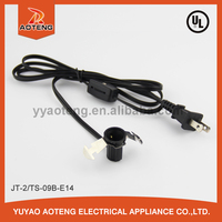 UL,CUL approval ul standard ac 2 pin power cord with e12 lamp holder power cord.heat resistant 105 degree power cord.ul approval