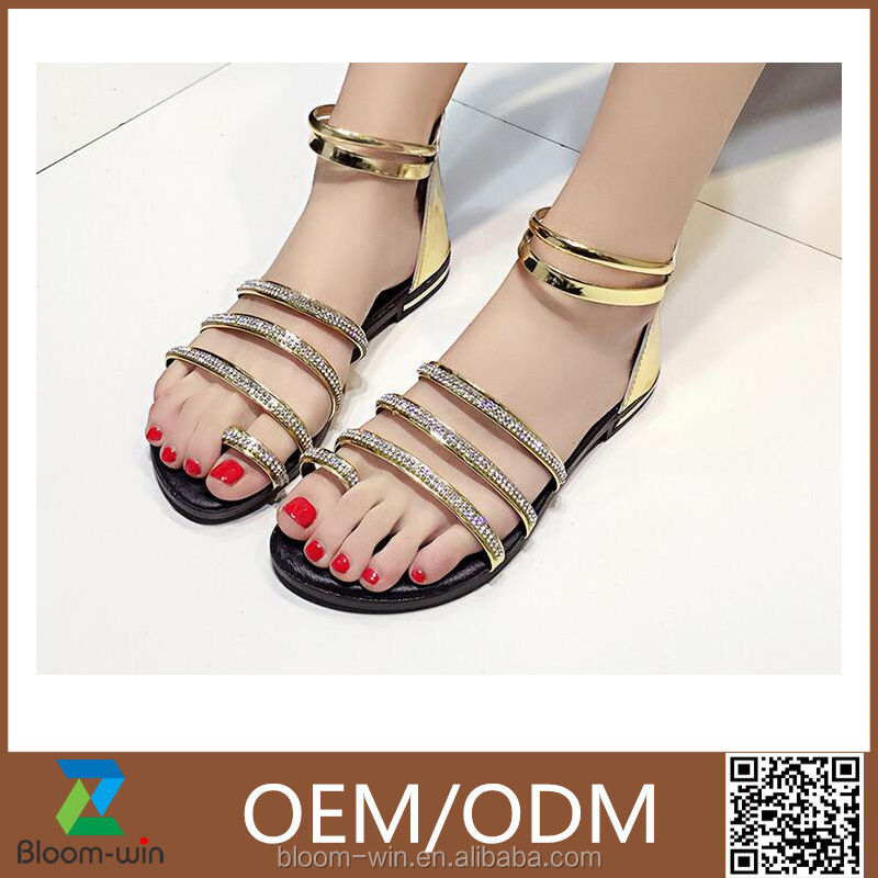 Luxurious Massage Flat bottom design of Rome Rhinestone <strong>sandals</strong> wholesale