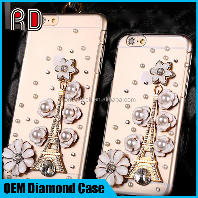 Cell phone shell Rhinestone Crystal hard case for iphone 6, for iphone 6 case rhinestone