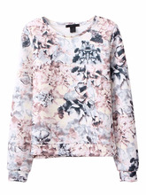 Crew Neck Pullover Hoodie Sweatshirt women with flower printing design