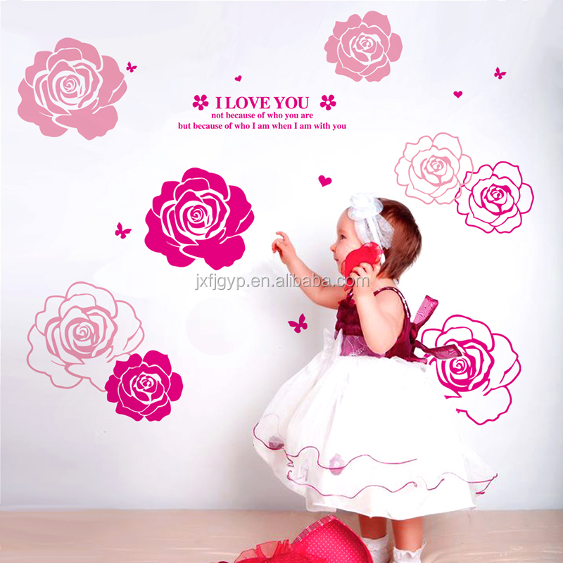 Creative Removable stickers/non-toxic PVC rose wall sticker home decals