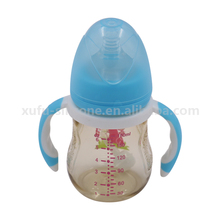 Amazoon hot anti colic plastic baby feeding bottle with silicone handle
