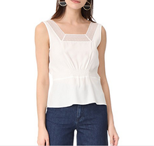 Summer fashion women white vest sleeveless formal style tops slim semi sheer lace chiffon blouse