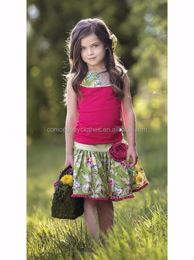 2016 fashion western kids sleeve cotton floral 2pcs summer dress for kids