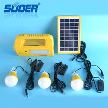 Suoer Hot Sale Mini 3W 6V Power Cell Home Solar Lighting Energy System with Lead- acid Battery