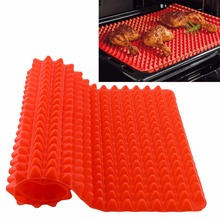 100% BPA free Pyramid Silicone Oven Baking Tray Sheets Mat Pan Non Stick Fat Reducing Cooking