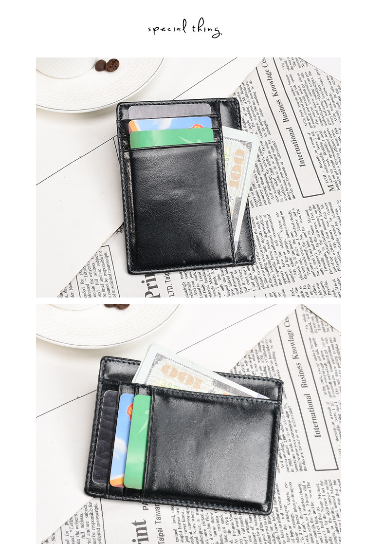 Premium Genuine Soft Cowhide Leather Credit Card Holder Wallet