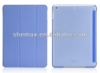 2014 new for ipad air front smart cover and transparent hard back case