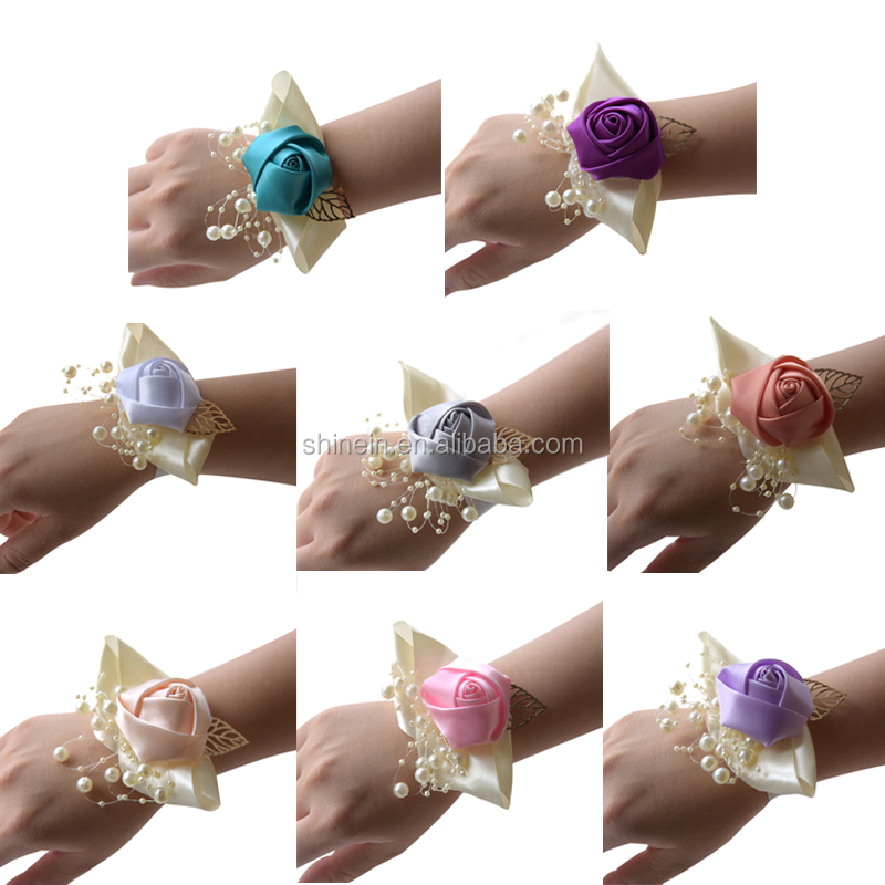 Romantic Wedding Bride Decoration Unique Design Artificial Silk Flower Bracelet