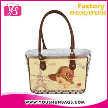 2015 Fashion Lady Leather Handbag Wholesale with the 40's French Women Printing