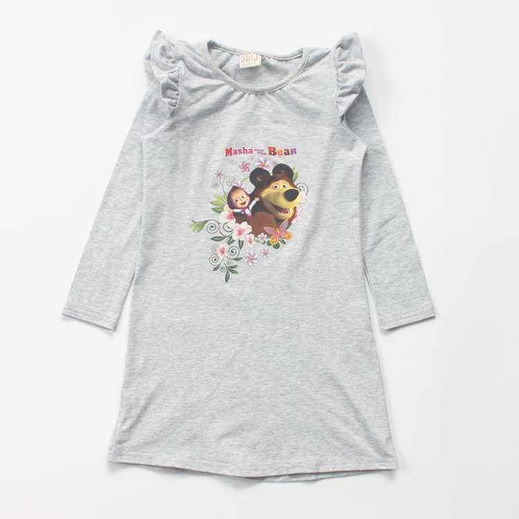 Wholesale girls dresses cartoon printed children clothing for autumn cotton korean kids dress